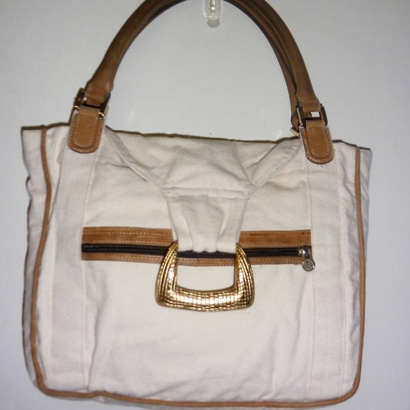 VTG Fendi Refurbished off white Canvas Handbag M